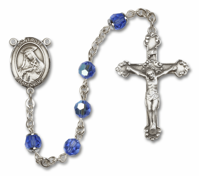 St Rose of Lima Patron Saint Sapphire Swarovski Sterling Rosary by Bliss