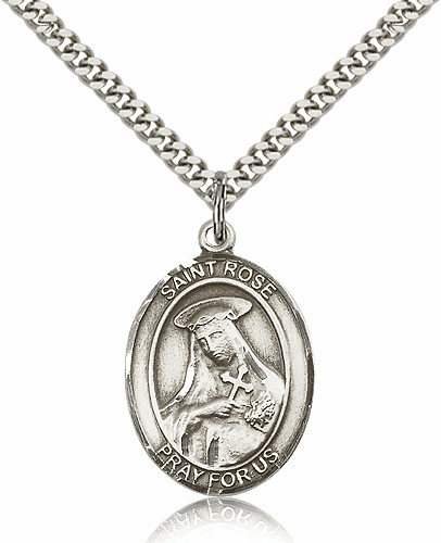 St Rose of Lima Silver-filled Patron Saint Necklace with Chain by Bliss