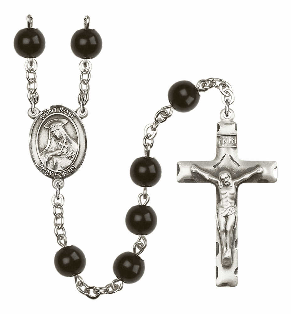 St Rose of Lima Silver Plate 7mm Black Onyx  Prayer Rosary by Bliss