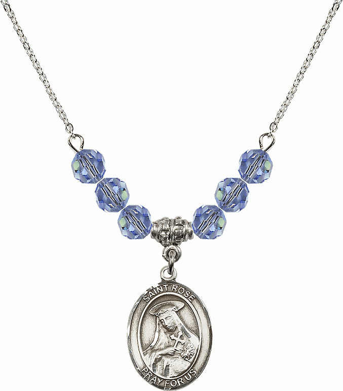 St Rose of Lima Swarovski Crystal Beaded Patron Saint Necklace by Bliss Mfg