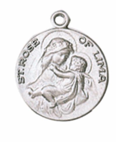 """St Rose of Lime Saint Medal Pendant w/18"""" Chain by Jeweled Cross"""