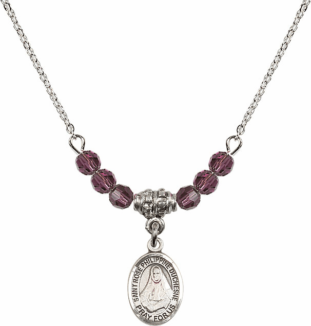 St Rose Philippine Duchesne 4mm Swarovski Crystal February Amethyst Necklace  by Bliss Mfg