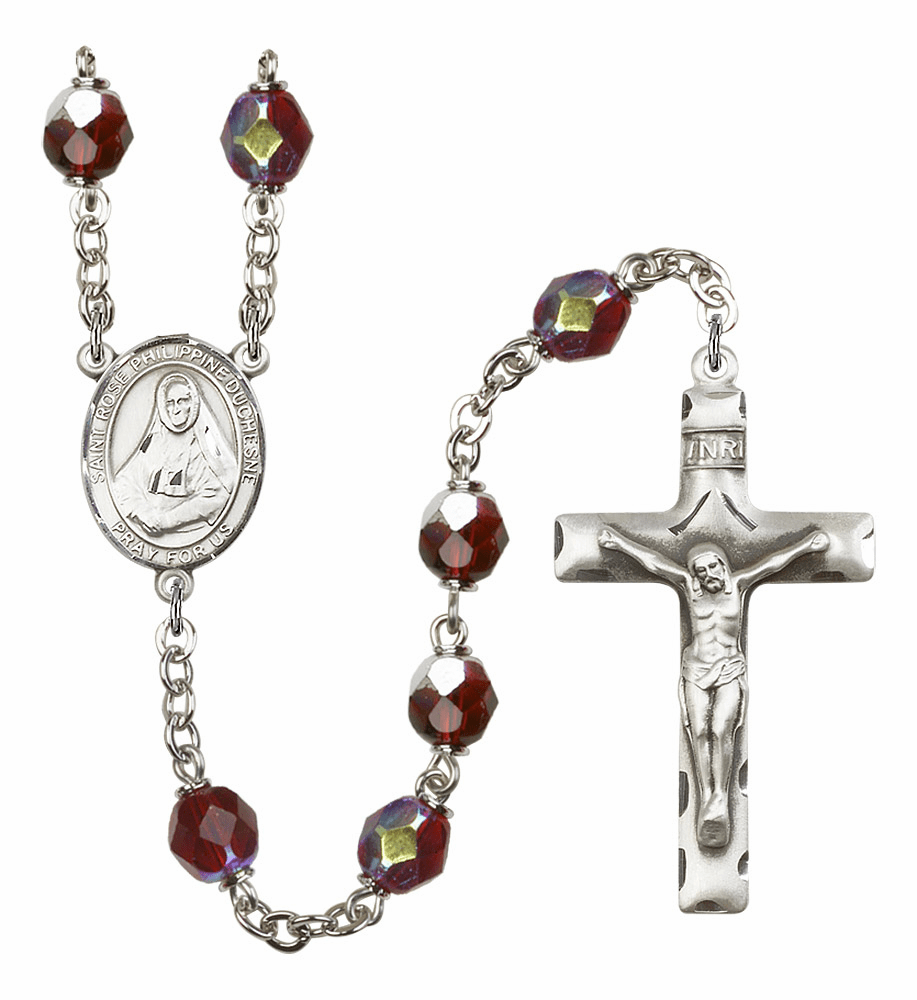 St Rose Philippine Duchesne 7mm Lock Link AB Garnet Rosary by Bliss Mfg