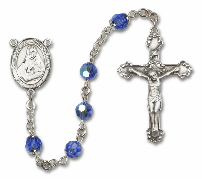 St Rose Philippine Duchesne Patron Saint Sapphire Swarovski Sterling Rosary by Bliss