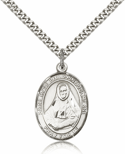 St Rose Philippine Duchesne Silver-filled Patron Saint Necklace with Chain by Bliss