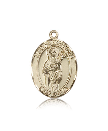 Patron Saint of Nuns//Storms Sterling Silver St Scholastica Pendant with 18 Sterling Silver Lite Curb Chain