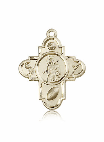 St. Sebastian 14kt Gold 5 Way Sports Cross Medal Pendant by Bliss