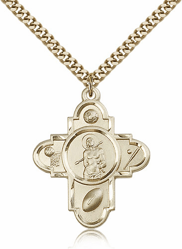 St. Sebastian 5-Way Sport Gold Filled Medal Necklace by Bliss
