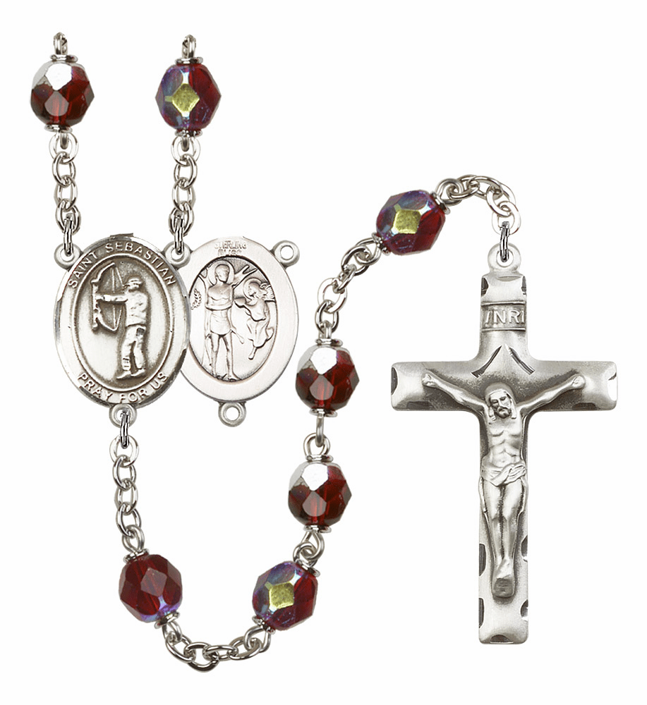 St Sebastian Archery 7mm Lock Link Aurora Borealis Garnet Rosary by Bliss Mfg