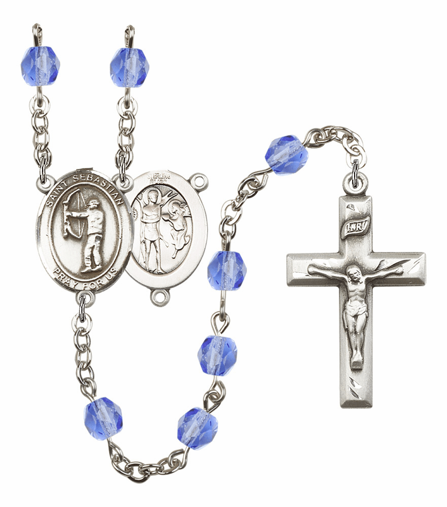 "Bliss St Sebastian Archery Heart Crucifix Birthstone Fire Polished Crystal Prayer Rosary ""More Colors"""