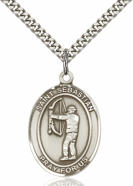 St Sebastian Archery Silver-Filled Patron Saint Medal by Bliss Manufacturing