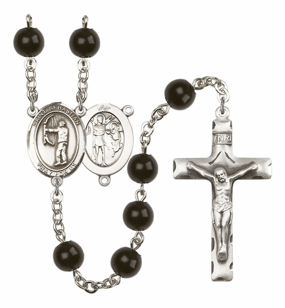 St Sebastian Archery Silver Plate 7mm Black Onyx  Prayer Rosary by Bliss