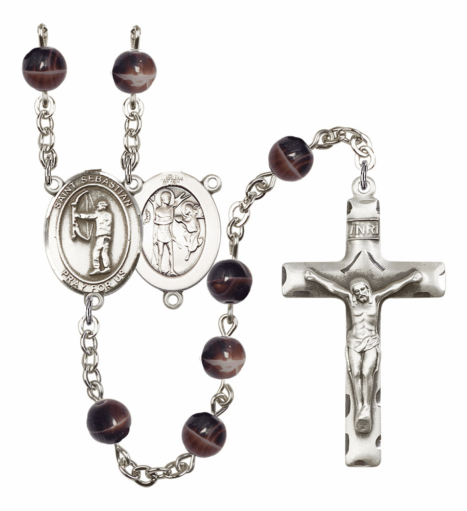 St Sebastian Archery Silver Plate 7mm Brown Gemstone Prayer Rosary by Bliss