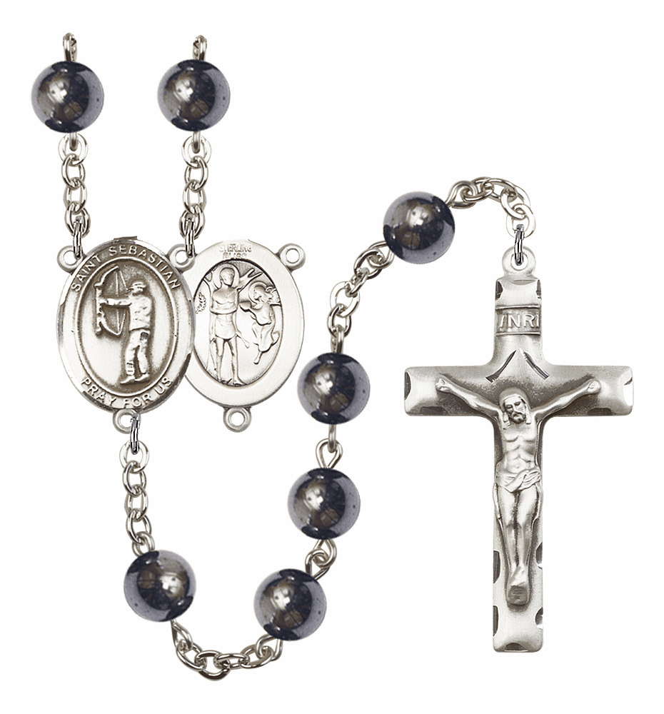 St Sebastian Archery Silver Plate 8mm Hematite Gemstone Prayer Rosary by Bliss