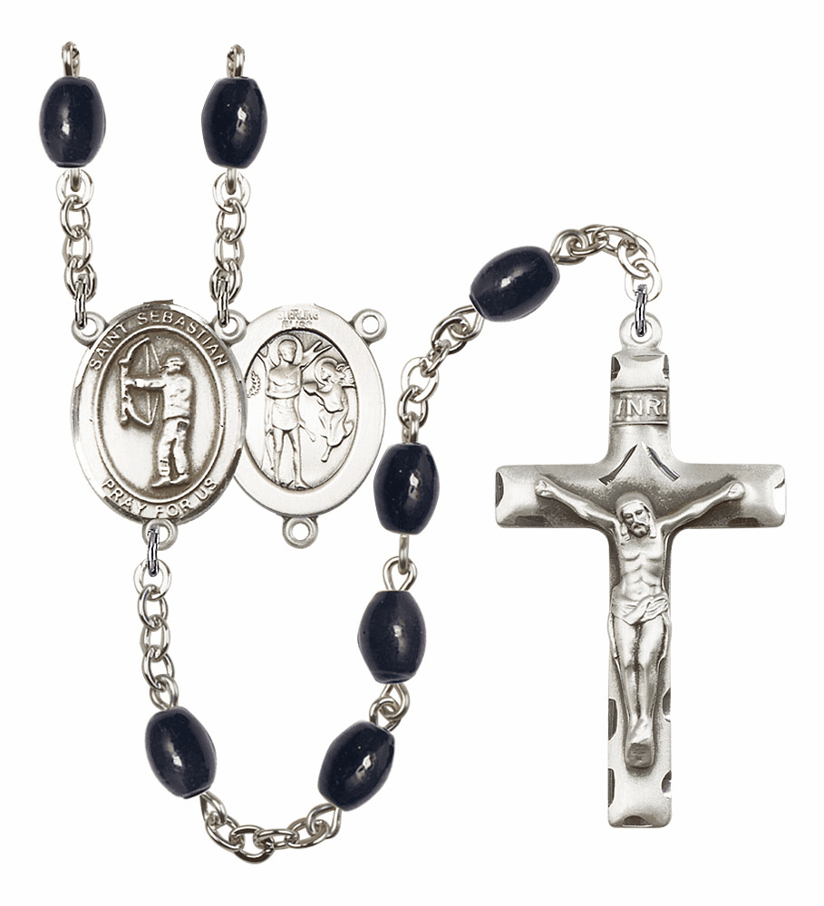 St Sebastian Archery Silver Plate 8x6mm Black Onyx Gemstone Prayer Rosary by Bliss