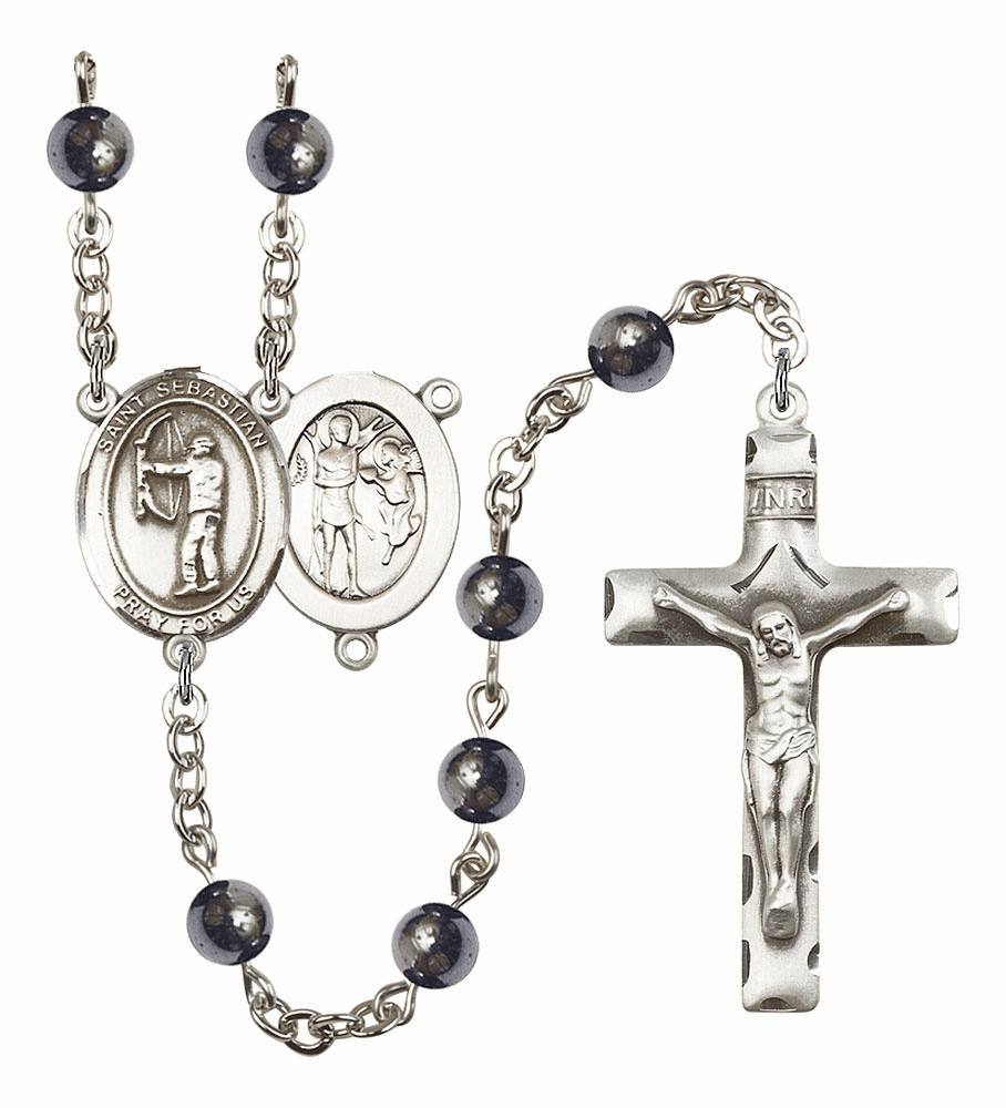 Bliss Mfg St Sebastian Archery 6mm Hematite Gemstone Rosary