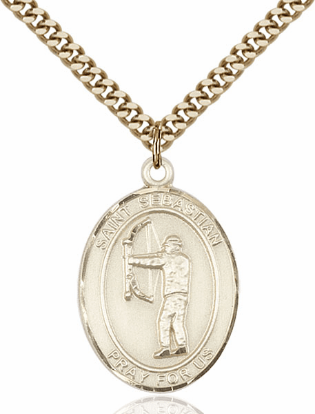 St Sebastian Archery Sports 14kt Gold-Filled Pendant Necklace by Bliss