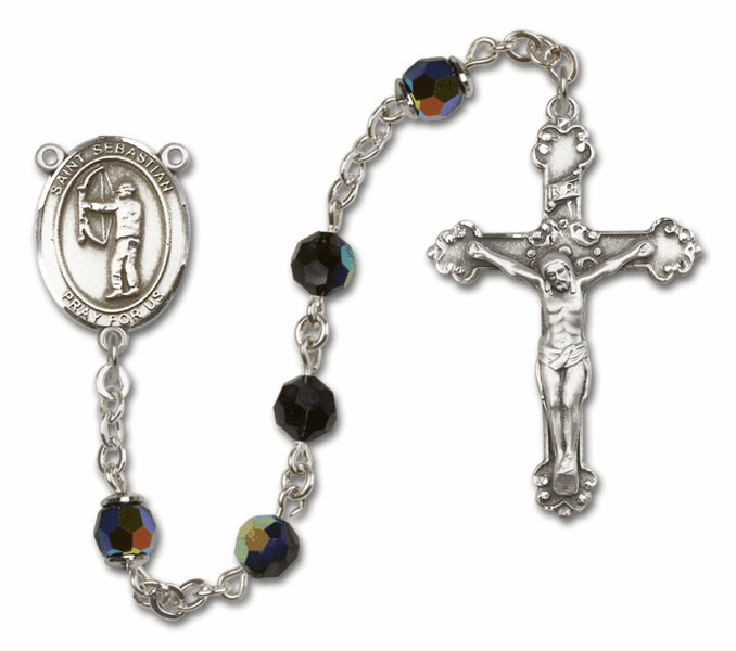 St Sebastian Archery Sterling Silver Sports Rosary By Bliss