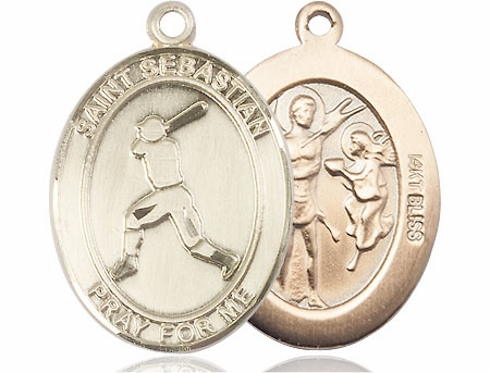 St Sebastian Baseball Player 14kt Gold Sports Medal Pendant by Bliss