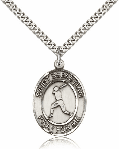 St Sebastian Baseball Player Pewter Patron Saint Necklace by Bliss