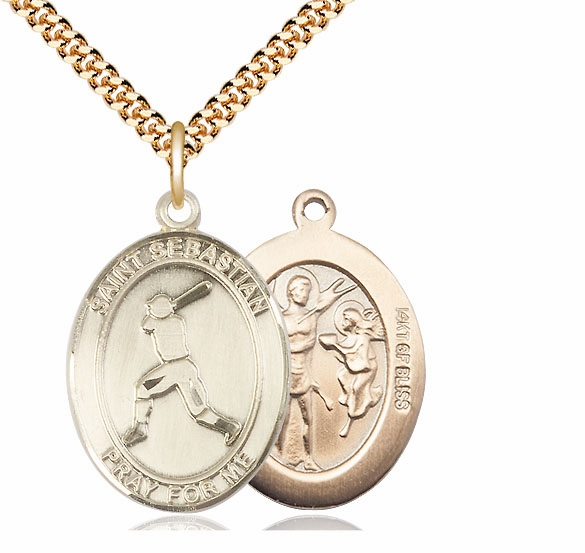 St Sebastian Baseball Player Sports 14kt Gold-Filled Pendant Necklace by Bliss