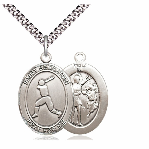 St Sebastian Baseball Player Sports Sterling Silver Pendant Necklace by Bliss