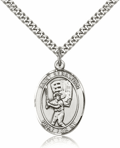 St Sebastian Baseball Player Sterling-Filled  Saint Medal by Bliss Manufacturing