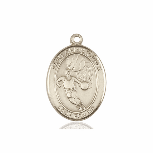 St Sebastian Basketball 14kt Gold Sports Medal Pendant by Bliss