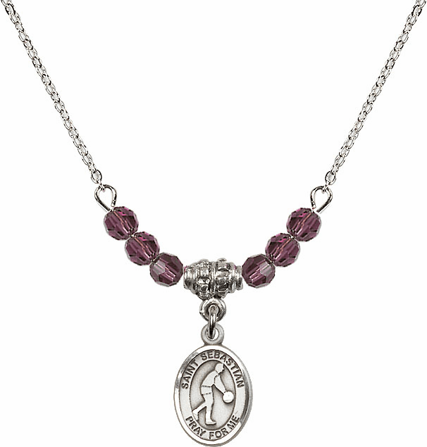 St Sebastian Basketball 4mm Swarovski Crystal February Amethyst Necklace by Bliss Mfg