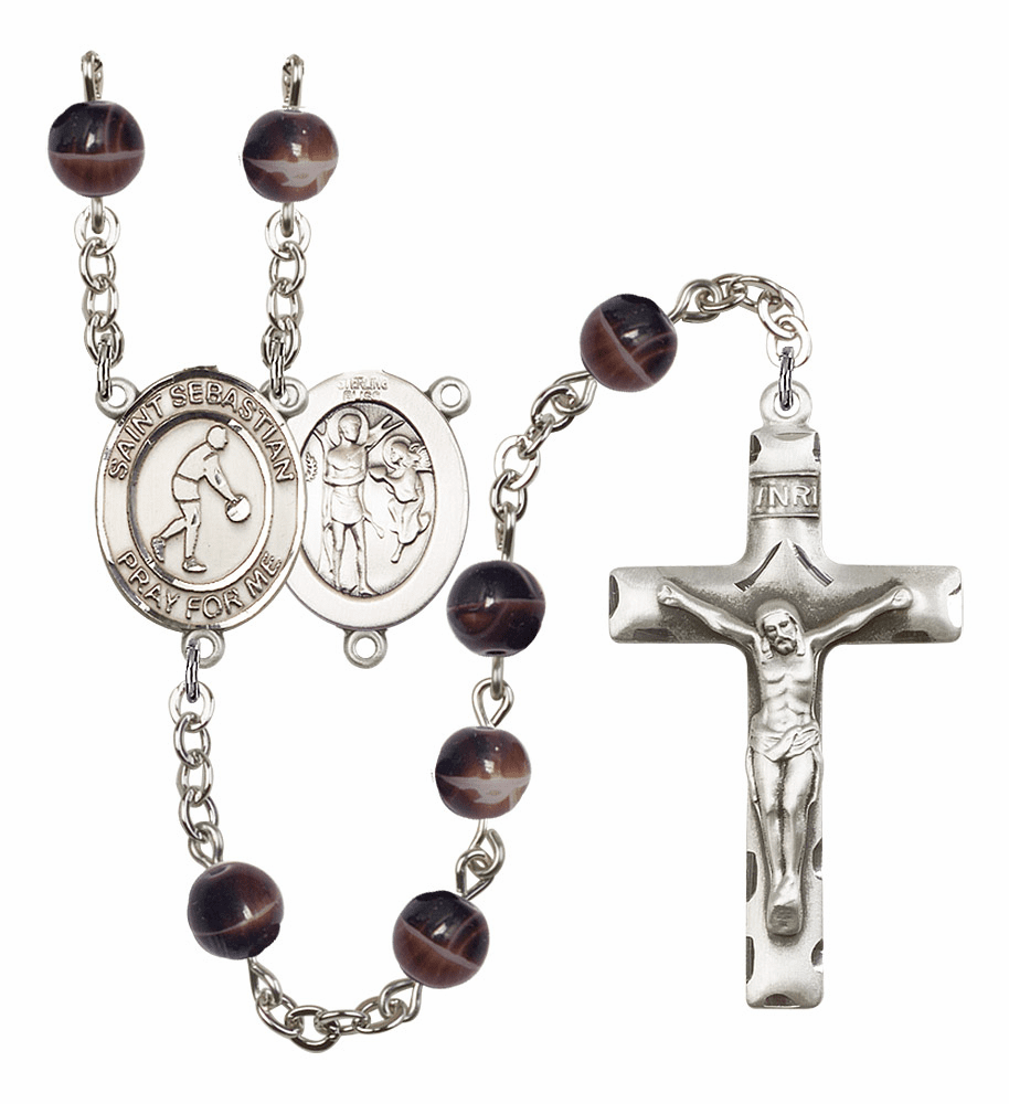 St Sebastian Basketball 7mm Brown Gemstone Prayer Rosary by Bliss
