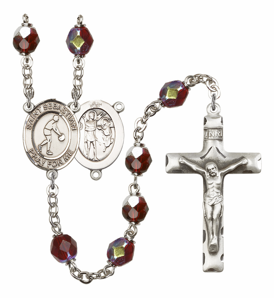 St Sebastian Basketball 7mm Lock Link Aurora Borealis Garnet Rosary by Bliss Mfg