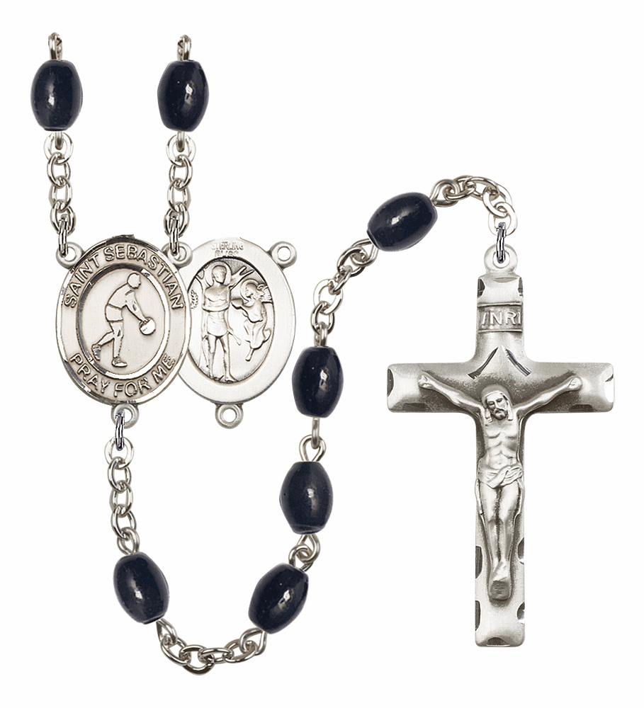 St Sebastian Basketball 8x6mm Black Onyx Gemstone Prayer Rosary by Bliss
