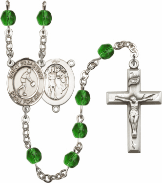 St Sebastian Basketball Athlete Silver-Plated Birthstone Rosary
