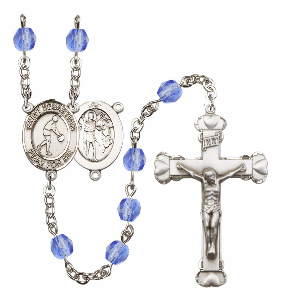 St Sebastian Basketball Heart Crucifix Birthstone Fire Polished Crystal Prayer Rosary