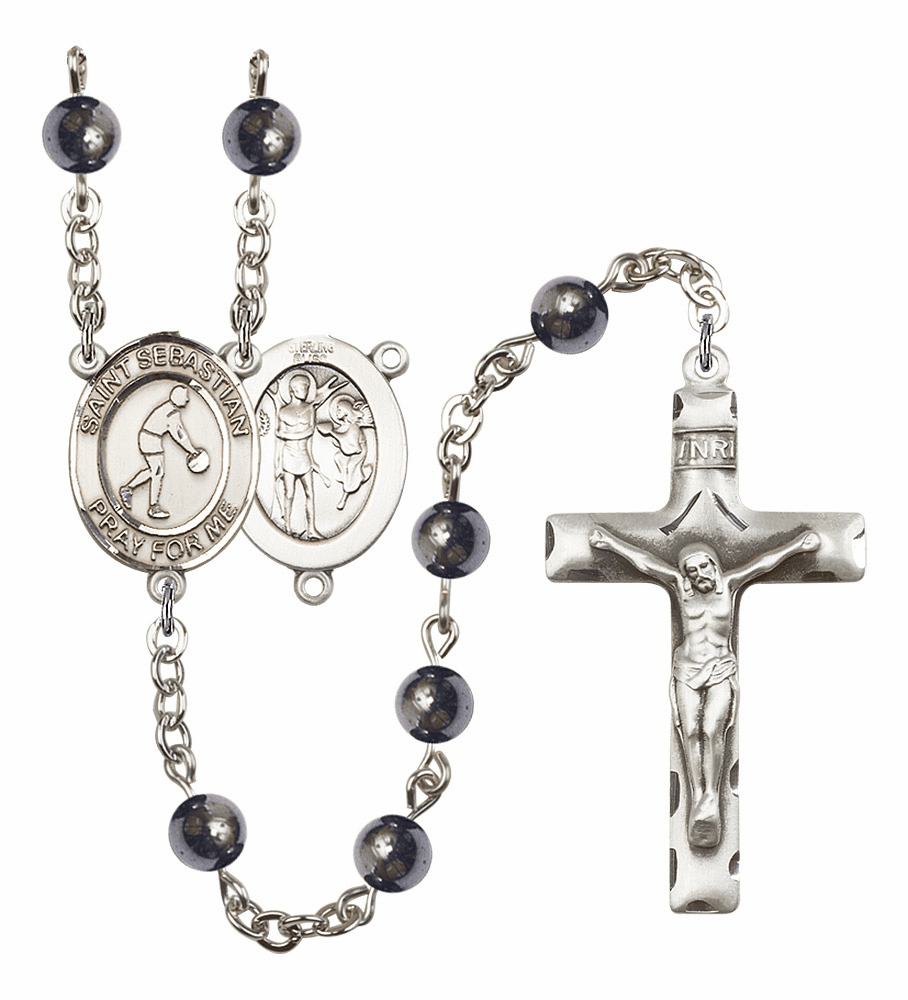 St Sebastian Basketball Hematite Hematite Gemstone Prayer Rosary by Bliss Mfg