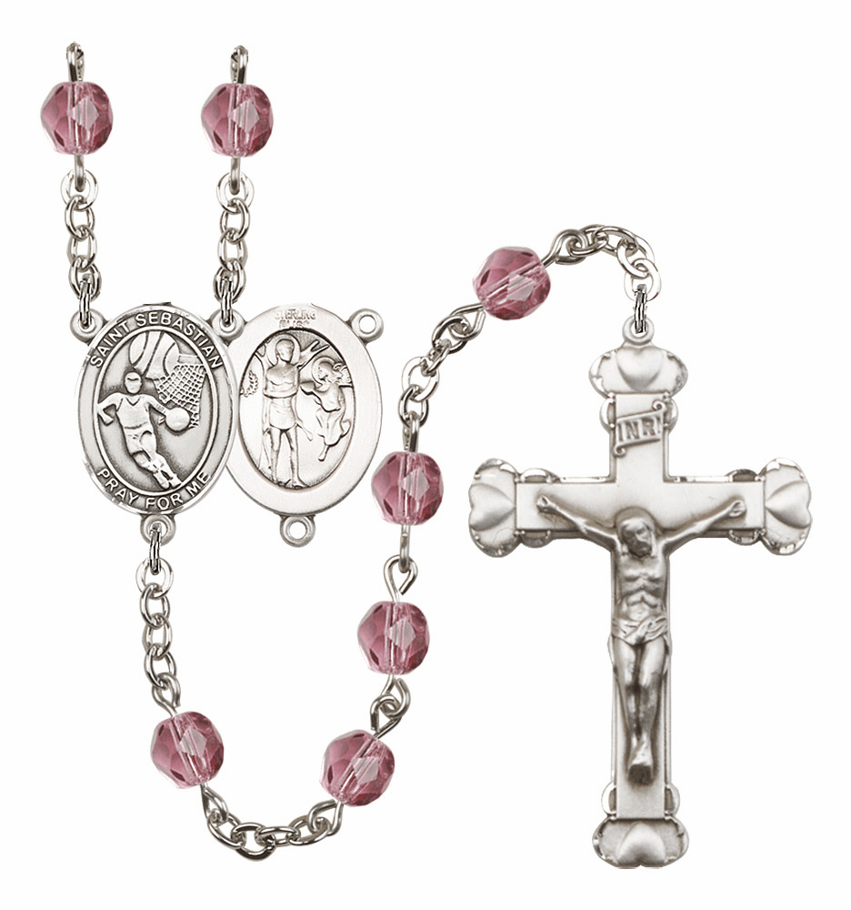 St Sebastian Basketball Patron Saint Birthstone Fire Polished Crystal Prayer Rosary