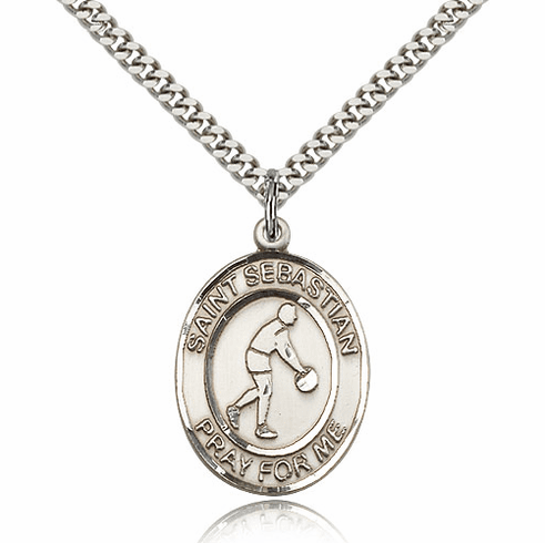 St Sebastian Basketball Player Silver-Filled Patron Saint Medal by Bliss Manufacturing