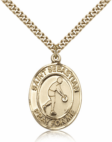 St Sebastian Basketball Player Sports 14kt Gold-Filled Pendant Necklace by Bliss