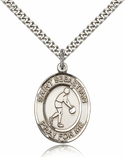 St Sebastian Basketball Player Sports Sterling Silver Pendant Necklace by Bliss