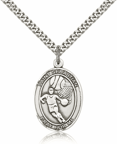 St Sebastian Basketball Sports Sterling Silver Pendant Necklace by Bliss