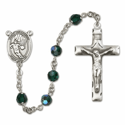 St Sebastian Basketball Sterling Silver Sports Rosary