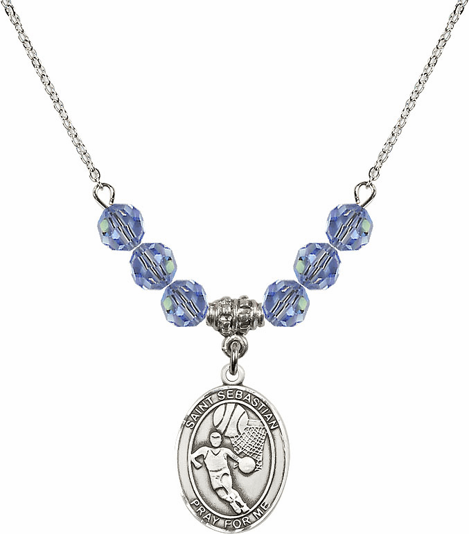 St Sebastian Basketball Swarovski Crystal Beaded Patron Saint Necklace by Bliss Mfg