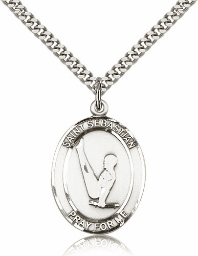 St Sebastian Boy's Gymnastics Silver-Filled Patron Saint Medal by Bliss Manufacturing