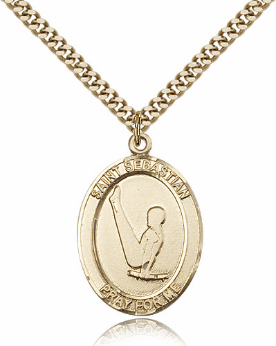 St Sebastian Boy's Gymnastics Sports 14kt Gold-Filled Pendant Necklace by Bliss