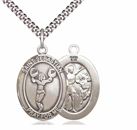 St Sebastian Cheerleading Pewter Patron Saint Necklace by Bliss