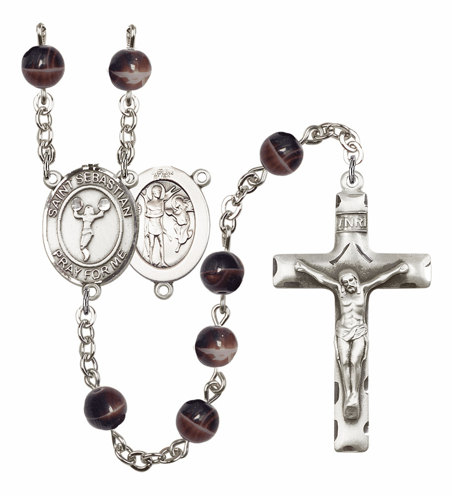 St Sebastian Cheerleading Silver Plate 7mm Brown Gemstone Prayer Rosary by Bliss