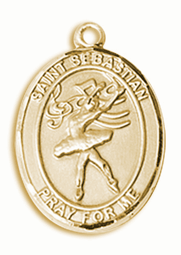 St Sebastian Dance 14kt Gold Sports Medal Pendant by Bliss