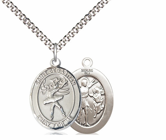St Sebastian Dance Sports Sterling Silver Pendant Necklace by Bliss
