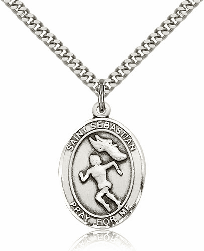 St Sebastian Female Track & Field Sterling-Filled Patron Saint Medal by Bliss