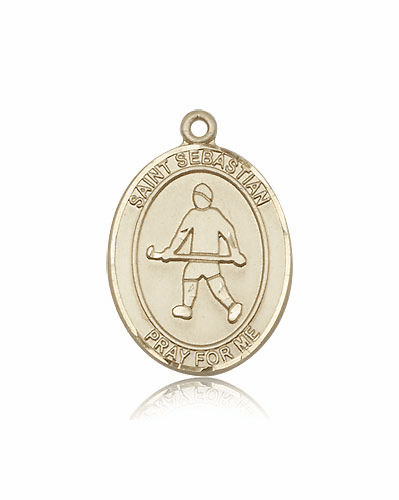 St Sebastian Field Hockey 14kt Gold Sports Medal Pendant by Bliss